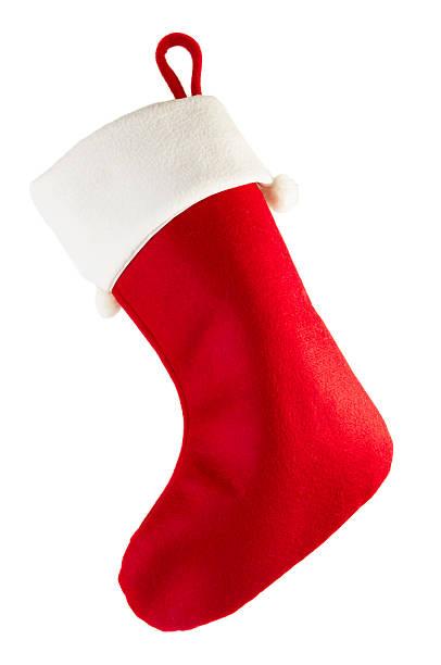 Red Christmas stocking stock photo