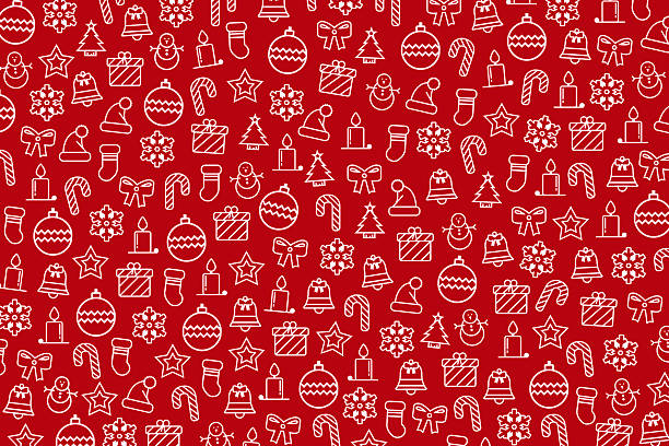 red christmas wallpaper with new year theme - wrapping paper stock photos and pictures