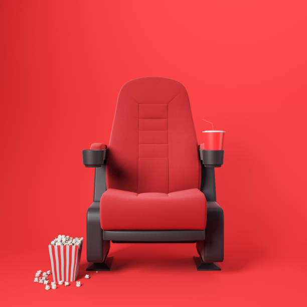 Red cinema chair on red background