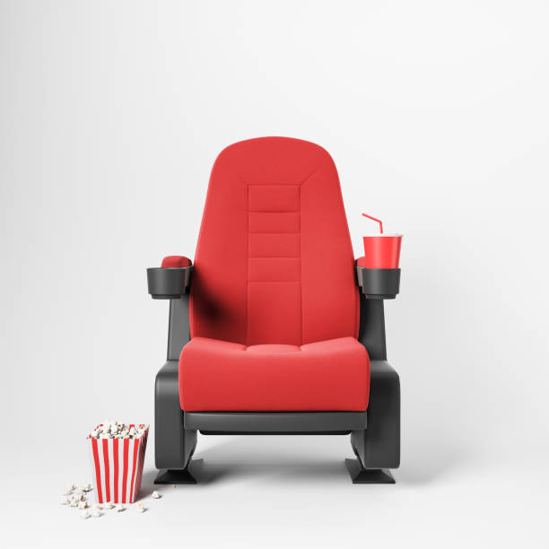Red cinema chair on white background