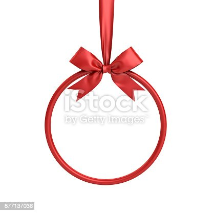 istock Red circle frame hanging with red ribbon and bow for christmas decoration and other events isolated on white background . 3D render 877137036