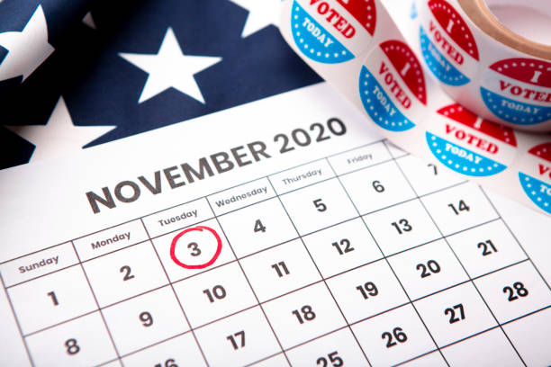 Red circle on November 2020 calendar, presidential election Patriotic concept. Red circle on November 2020 calendar, presidential election election stock pictures, royalty-free photos & images