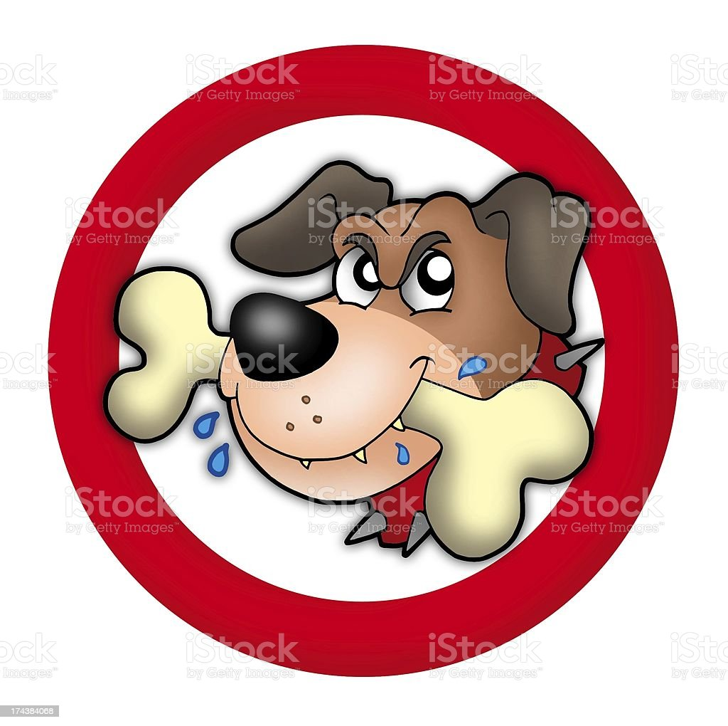 Red circle with angry dog stock photo