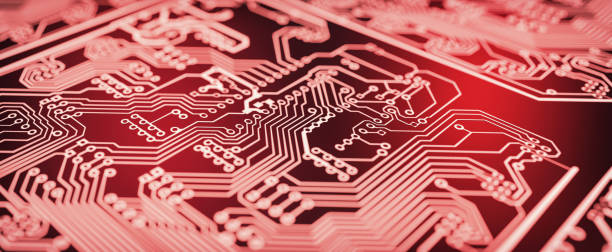 Red circuit board background. stock photo