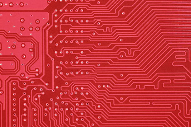 Royalty Free Red Circuit Board Texture Background Of Computer ...