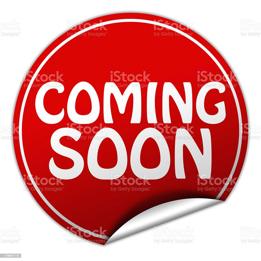 Red circular coming soon sticker on a white background royalty-free stock photo