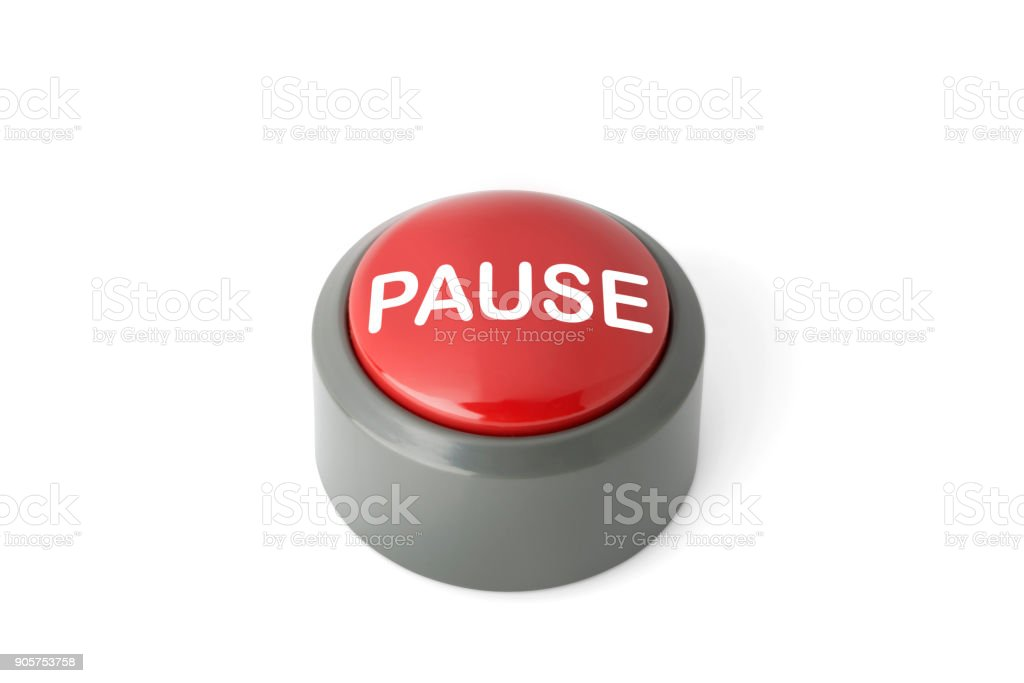 Red Circular Push Button Labeled 'Pause' on White Background stock photo