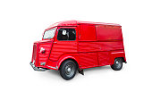 Red Citroen H Van (Type H) produced before 1981. Isolated on white background with clipping path