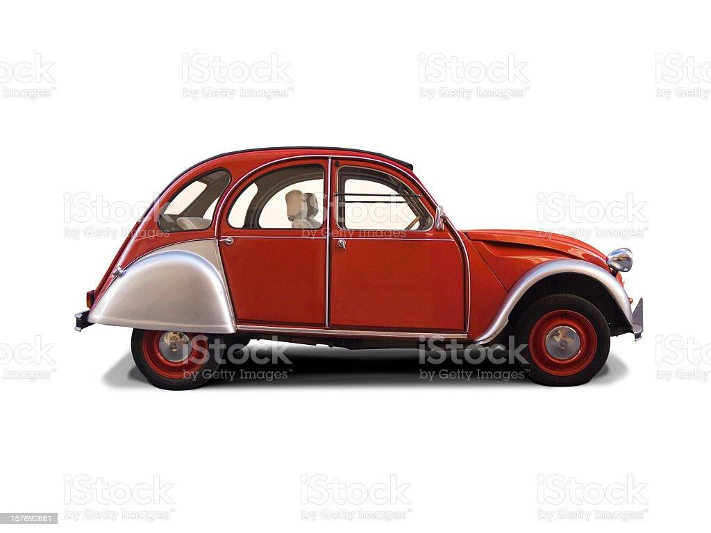 Red Citroën 2CV convertible. stock photo