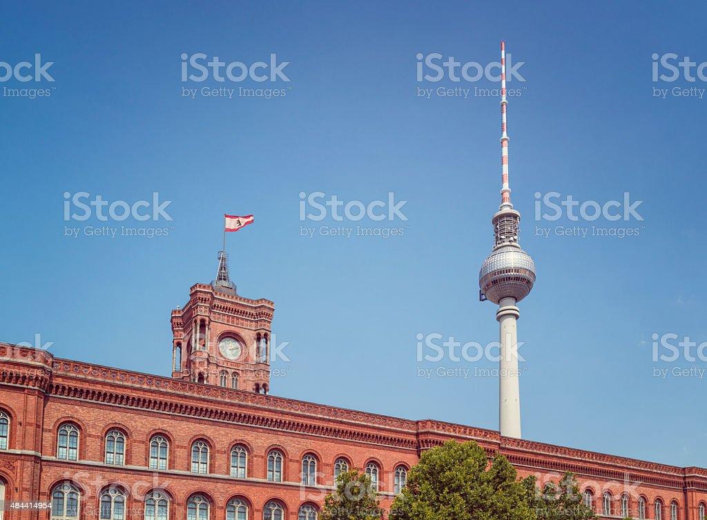 red city hall berlin germany stock photo