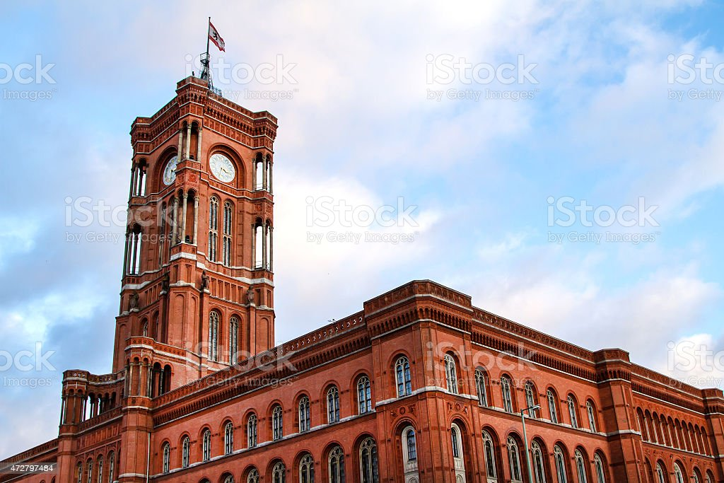 Red City Hall in Berlin stock photo