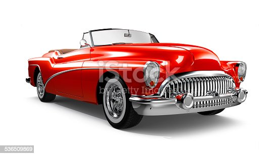 3D render of red classic coupe car