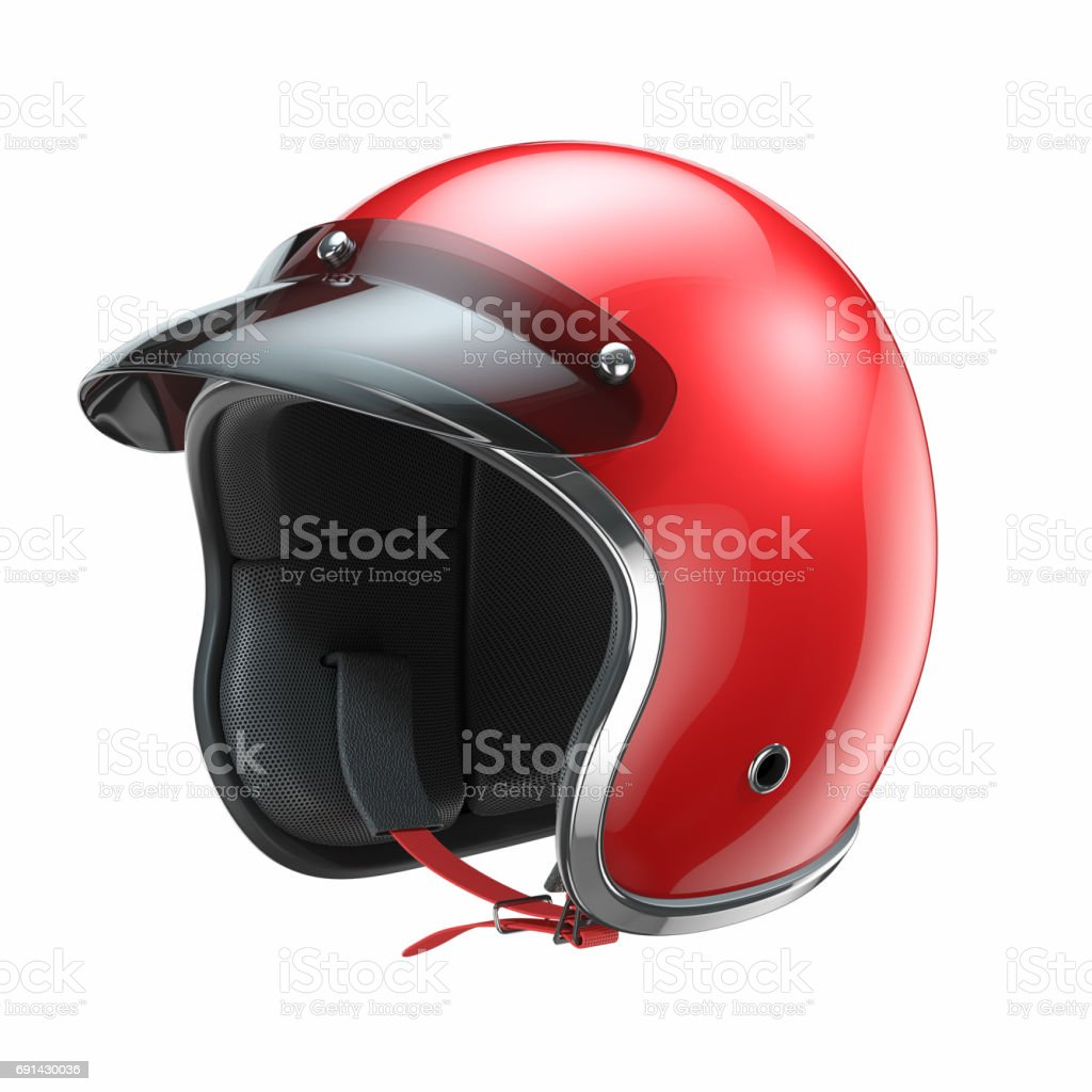 Red classic motorbike helmet royalty-free stock photo