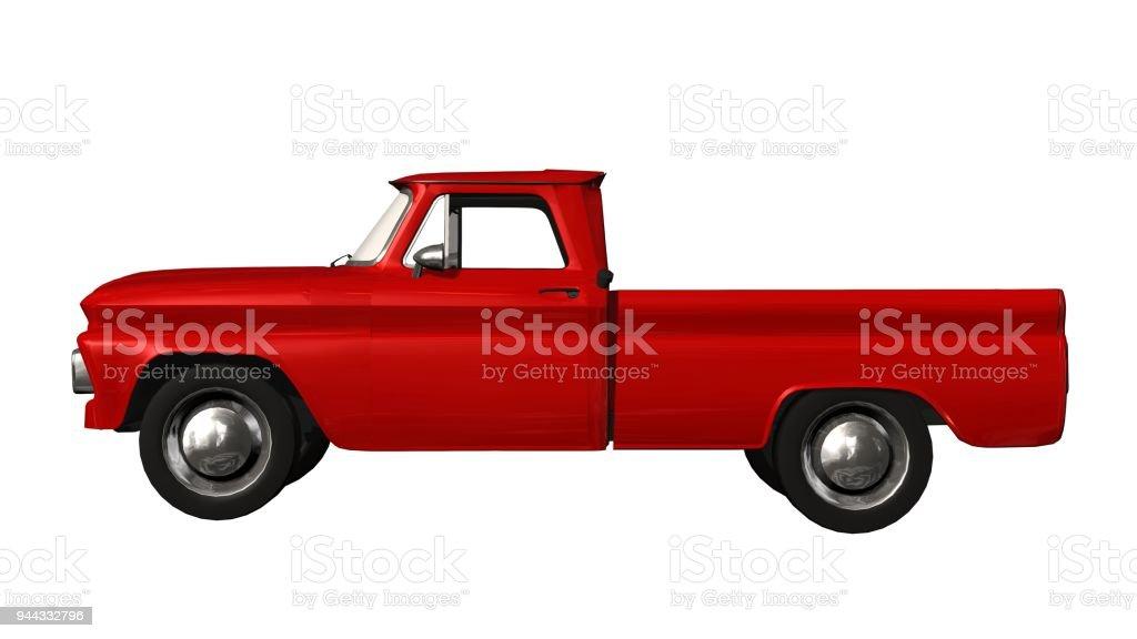 Ein roter klassische Pickup isoliert auf weißem Hintergrund – Foto