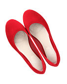 istock Red classic suede comfortable summer ballerina shoes top view isolated white 827511154