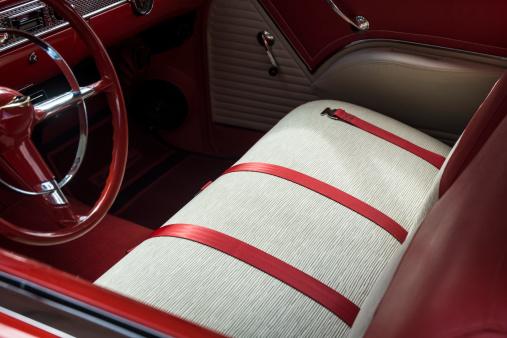 Red Classic Vintage Car Interior Dashboard Steering Wheel Car Seats