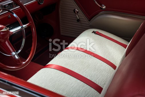 Red Classic Vintage Car Interior Dashboard Steering Wheel Car Seats