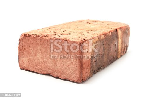 Red clay brick isolated on white background