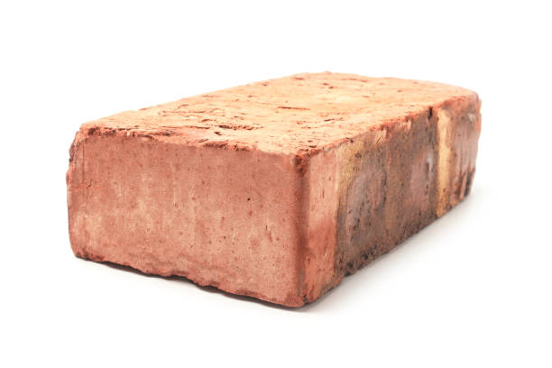 Red clay brick stock photo