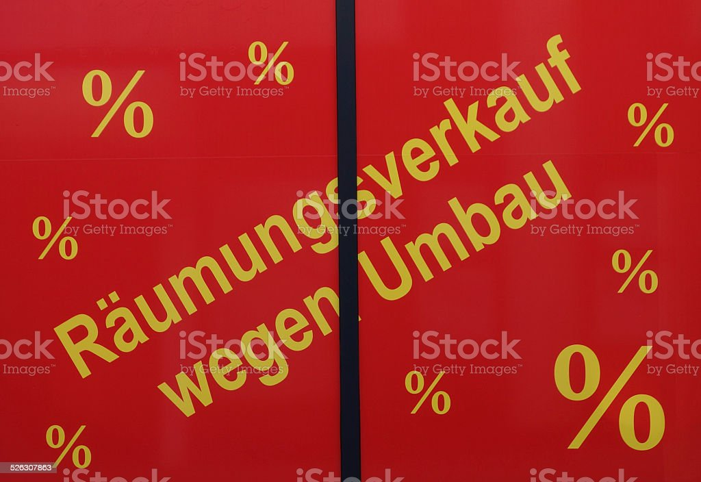 Red clearance sale poster stock photo