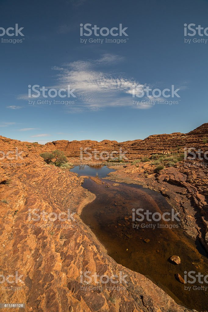 Red cliffs and waterhole of Kings Canyon, Australia stock photo