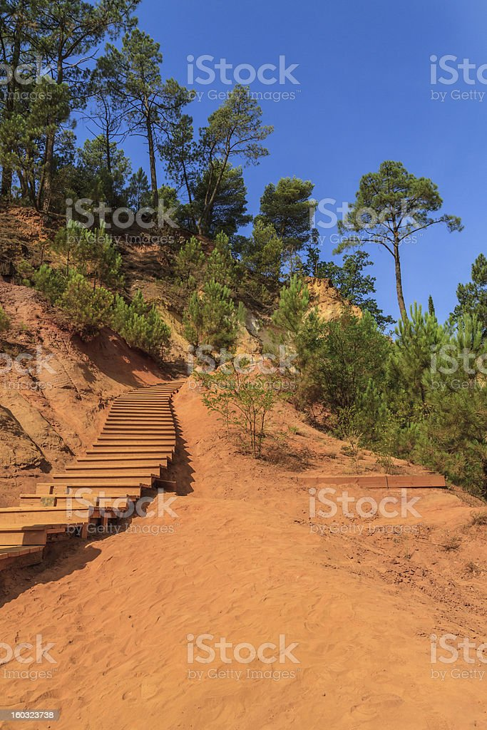 Red Cliffs in Roussillon (Les Ocres), Provence, France royalty-free stock photo