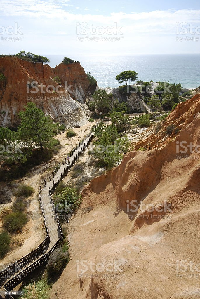 red cliffs, pine and wooden staircase(Algarve,Portugal) royalty-free stock photo
