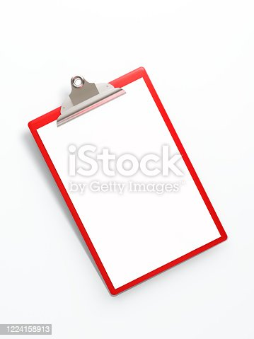 524051315 istock photo Red Clipboard Isolated on White Background 1224158913
