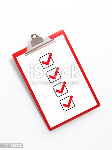 524051315 istock photo Red Clipboard with To Do List Isolated on White Background 1224159203