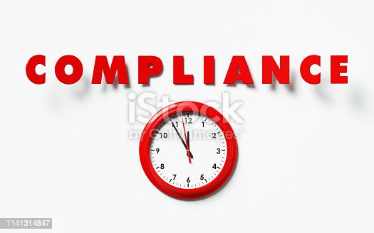 Red clock and red compliance text on white background. Horizontal composition with copy space.