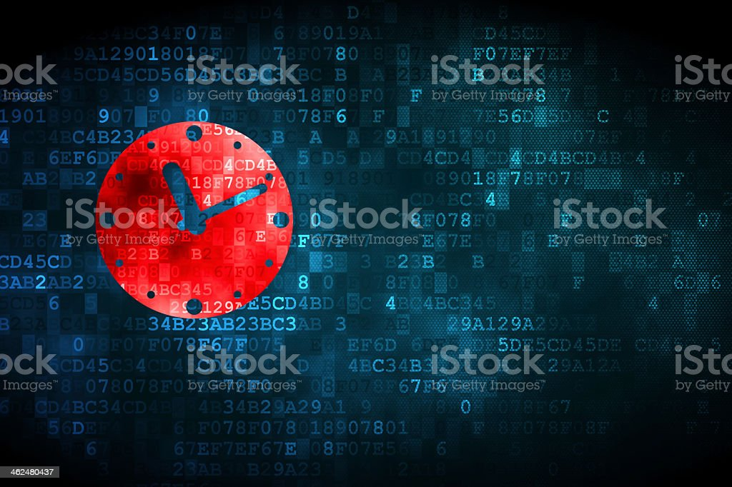 Red clock on numerical computer coding background stock photo