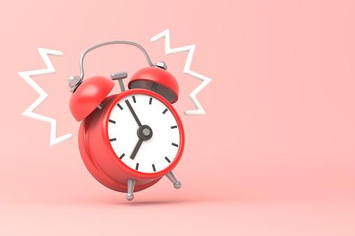 Red clock ringing. 3d illustration.