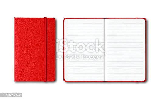 Red closed and open lined notebooks mockup isolated on white
