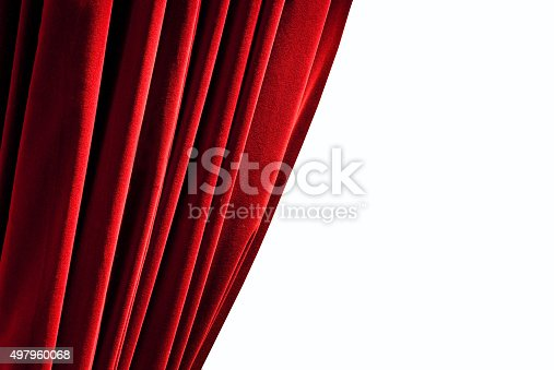 istock Red closed curtain 497960068