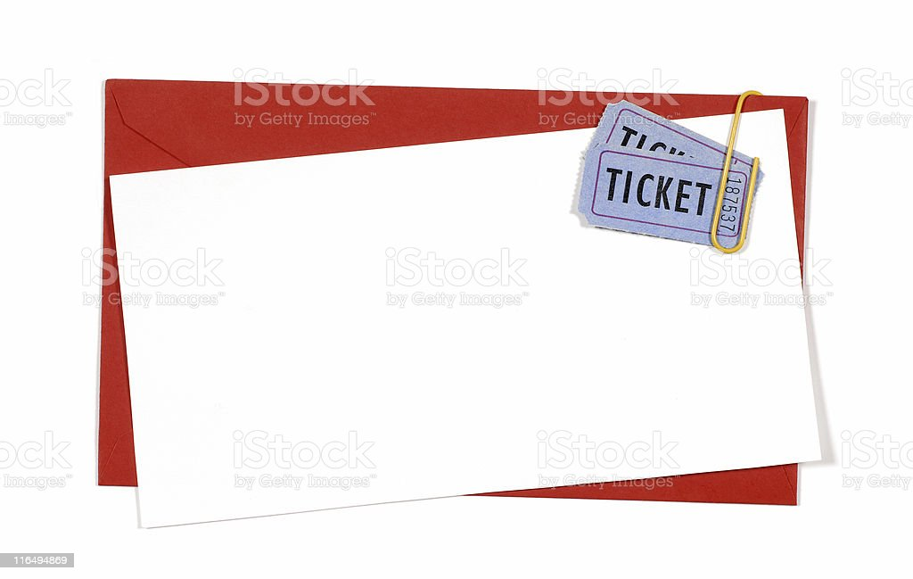 Red closed envelope with blue tickets royalty-free stock photo