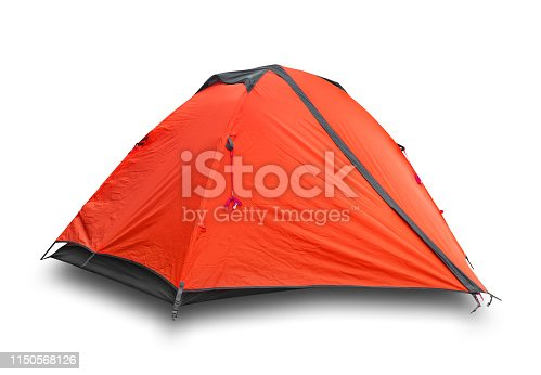 Red closed tourist a tent isolated on white background