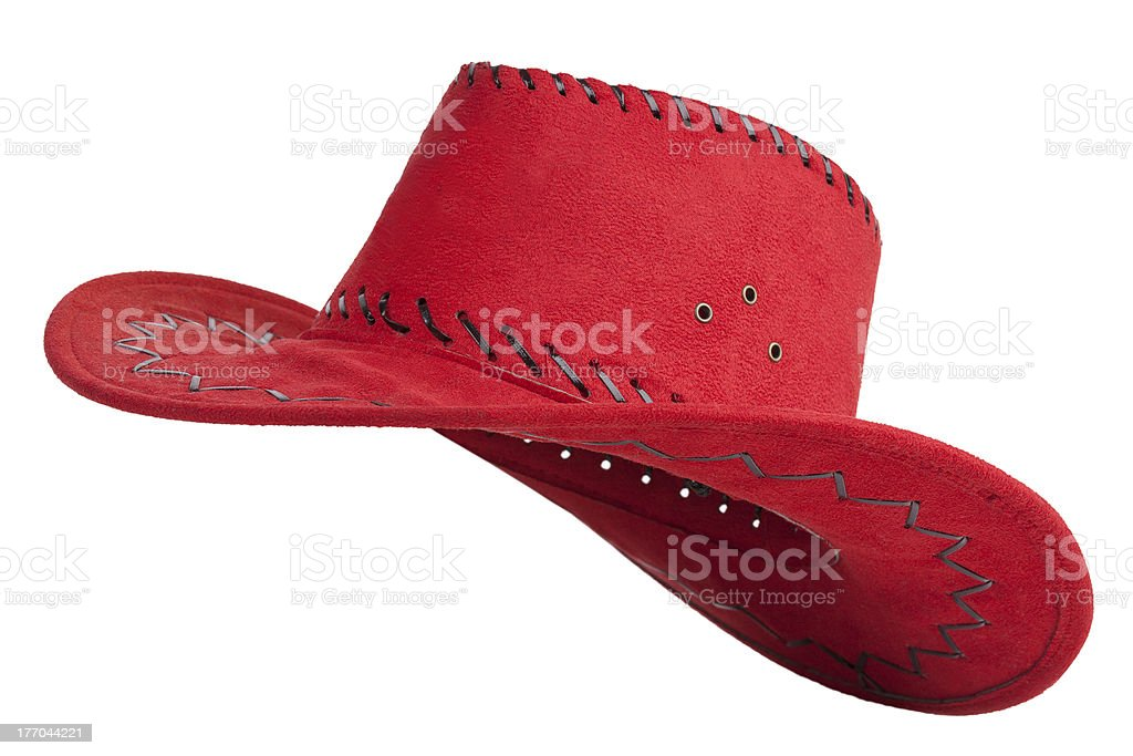 Red cloth cowboy hat stock photo