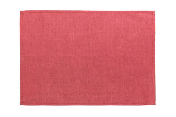 red cloth napkin isolated on white background top view with copy space stock photo