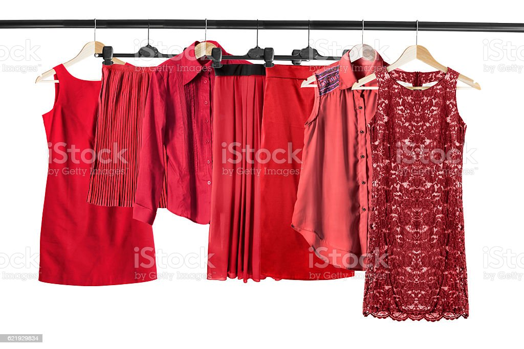 Red clothes on clothes rack stock photo