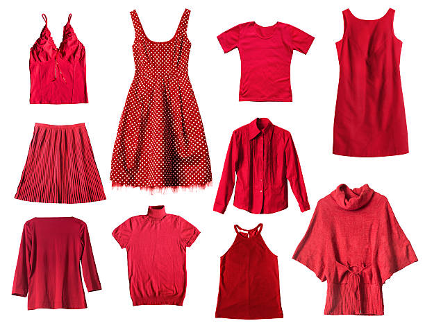 Red clothes Set of red female clothes on white background blouse stock pictures, royalty-free photos & images
