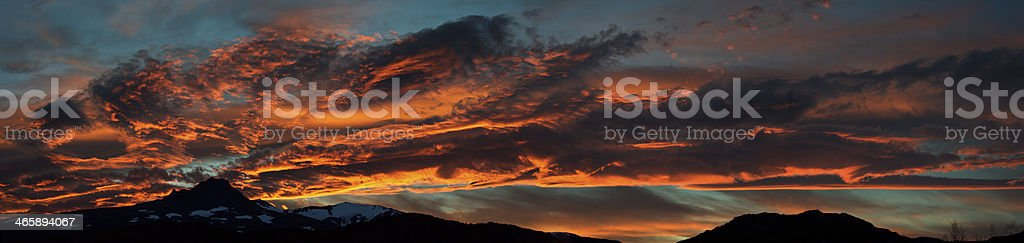 Red cloudscape at sunset, Patagonia royalty-free stock photo