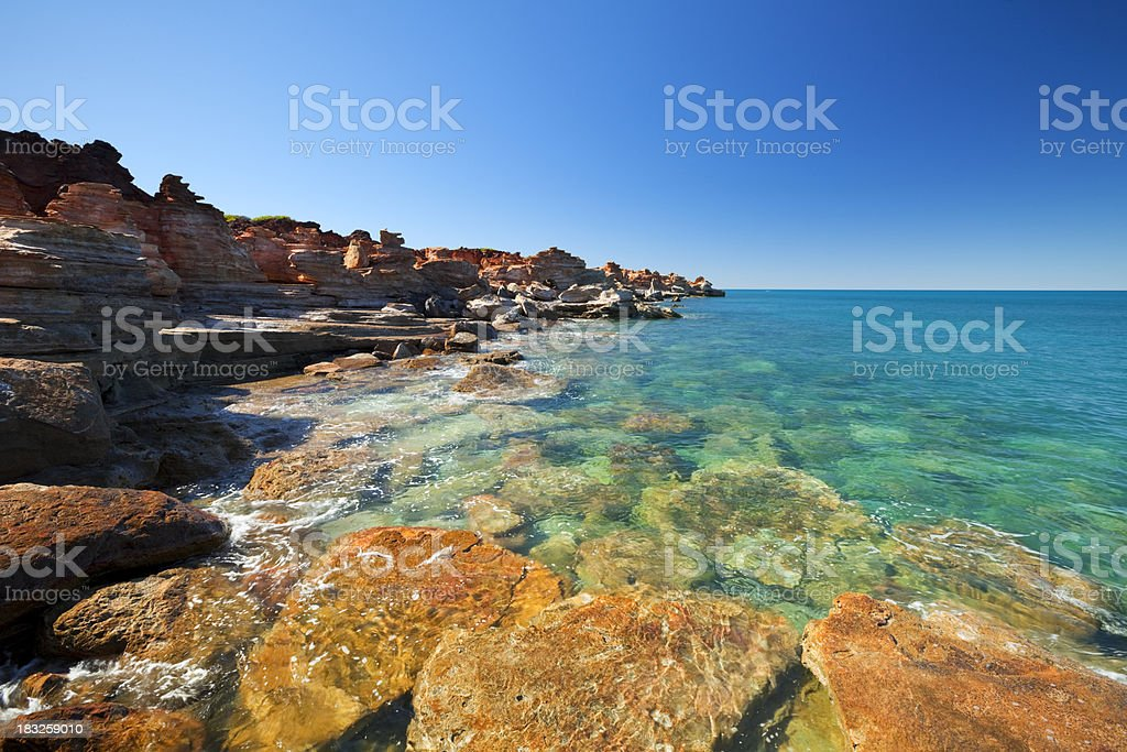 Red coastal cliffs at Gantheaume Point, Broome, Western Australia stock photo
