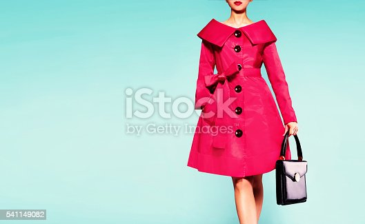 Fall winter fashion image. isolated on blur green background. Vintage retro style.