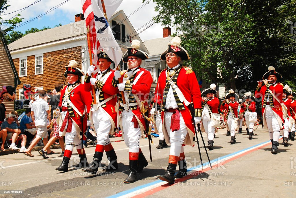 Red Coats in a Fourth of July Parade stock photo