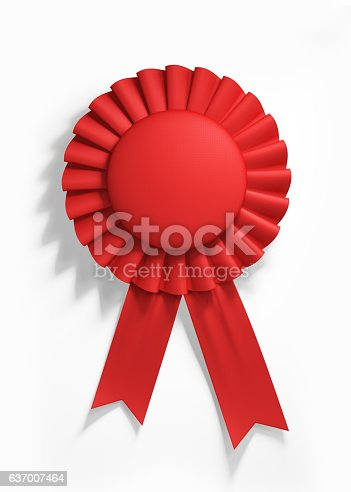 istock Red Cockade Isolated on White Background 637007464