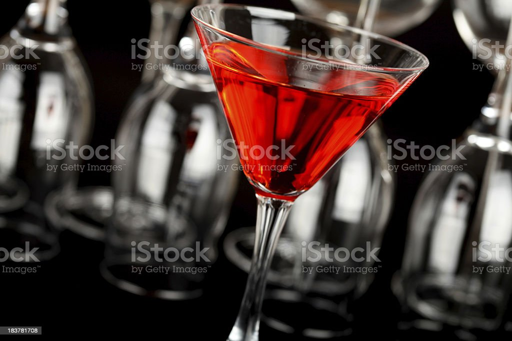 Red cocktail in a martini glass royalty-free stock photo