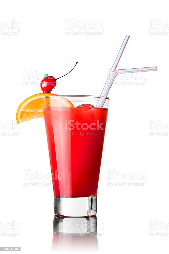 red cocktail isolated on white royalty-free stock photo