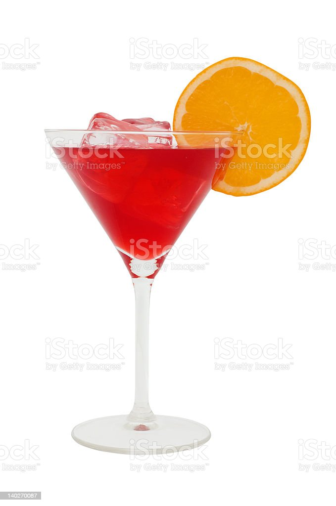 red cocktail with a slice of orange and icecubes royalty-free stock photo