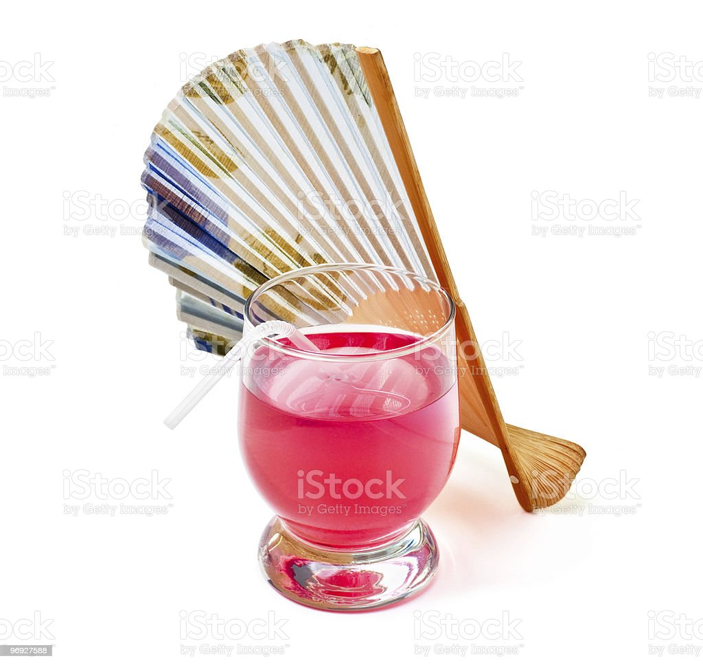 red cocktails and a fan royalty-free stock photo