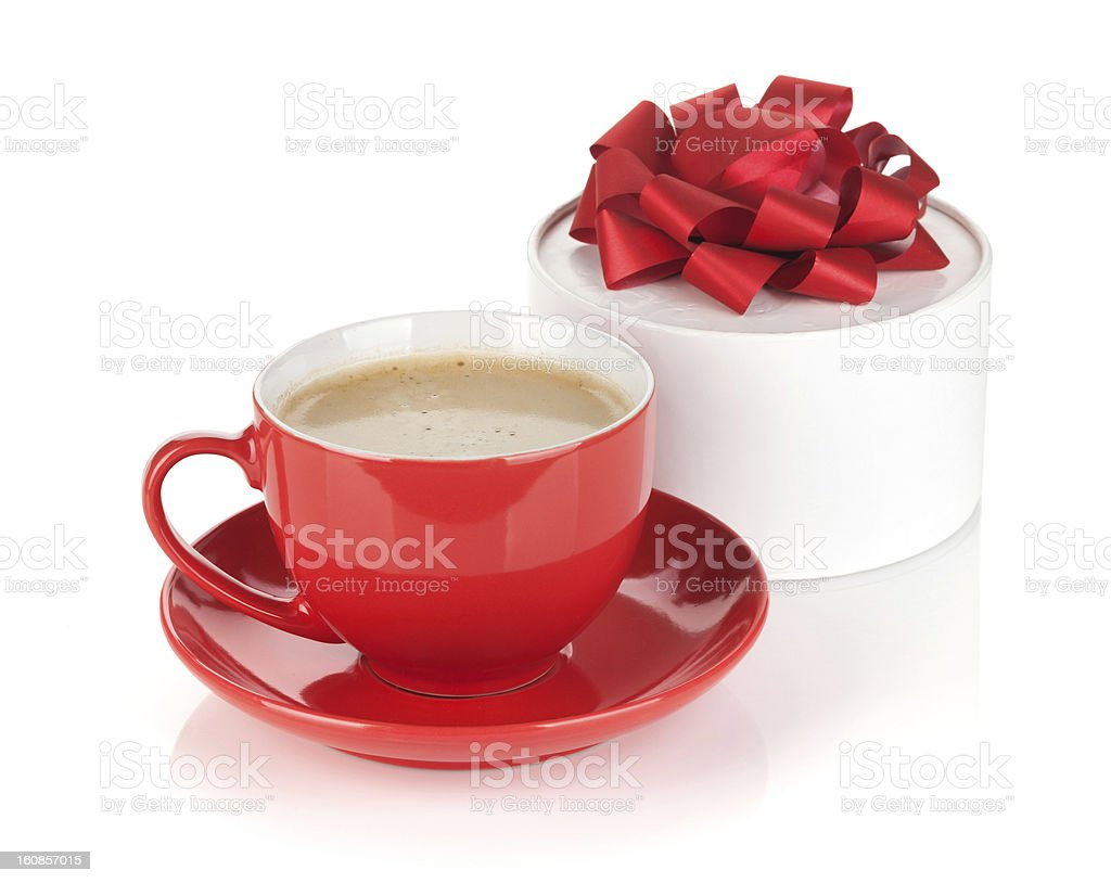 Red coffee cup and gift box with bow royalty-free stock photo